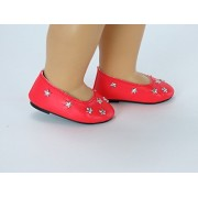 4th of July Red Star Flats for 18 Inch Dolls