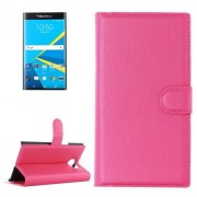 For Blackberry Priv Litchi Texture Horizontal Flip Leather Case with Magnetic Buckle & Holder & Card Slots & Wallet(Magenta)