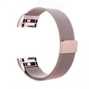 Fém okosóra szíj - 200mm hosszú, 18mm széles - ROSE GOLD - Fitbit Charge 2
