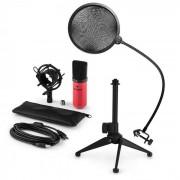 Auna MIC-900RD LED USB Set de micrófonos V2 3 piezas con soporte
