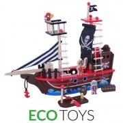 Jucarie tip Corabie Mare cu Pirati si Accesorii din Lemn pentru Copii