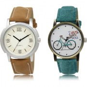 The Shopoholic White Combo Stylist Designer Combo Pack 2 White Dial Analog Watch For Boys And Girls Watches Men
