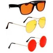 Elligator Aviator, Wayfarer, Round Sunglasses(Orange, Yellow, Red)