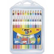 Set de colorat Kids creioane colorate, creioane cerate si carioci 36 buc/set Bic