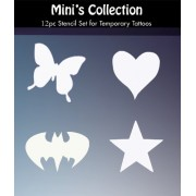 Tattoo Stencils Collection: 12 Mini 2'x2' Tattoo Designs for Glitter Tattoos / Temporary Tattoos for Kids and Teenagers