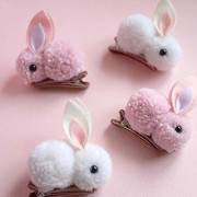 Rabbit Style Hair Clips For Baby Girls 4 pieces/ 2 pairs (pink white)