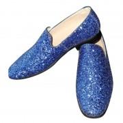 Merkloos Blauwe glitter disco instap schoenen voor heren 44 - Verkleedschoenen