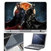 FineArts Laptop Skin Superman Batman Comic With Screen Guard and Key Protector - Size 15.6 inch