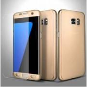 Husa Samsung Galaxy S7 Edge FullBody Elegance Luxury Gold acoperire completa 360 grade cu folie de protectie gratis