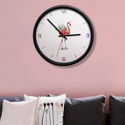 12 Inch Home Office Room Flamingo, Patron De La Hoja En Silencio No Marcando Redondo Reloj De Cuarzo De Pared Decorativos