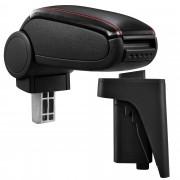 Подлакътник [pro.tec]® Audi A3 S3 8P с контейнер за съхранение Eко кожа /Черен с червен шев