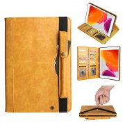 Multi-slot Wallet Retro PU Leather Shell Case with [Pen Pouch] for iPad 10.2 (2019) - Light Brown