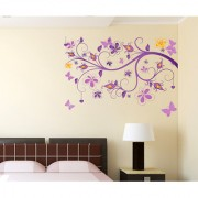 Vinyl Floral Vine Purple Beautiful Decorative Sticker Wall Sticker