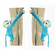Tickles Monkey Soft Stuffed Toy Curtain Holder Clip for Living Room (Blue, AT-A086)