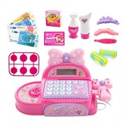 Kidsbele Girls Cash Register Toy Princess Mini Shopping Checkout Real Caculator Simulation Scanner Pink Miniature Pretend Play Toys