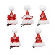 AMOSFUN Pinzas para el pelo con purpurina navideña, diseño de copo de nieve, para Navidad, niñas, accesorios para el pelo, regalos de Navidad, 5 unidades
