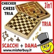 SCACCHI + DAMA + TRIA SET GIOCHI LEGNO