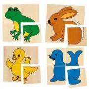 Дървена игра за памет и пъзел Каремо с 5 животни Goki, 871054