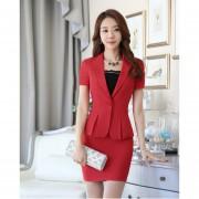 Trajes Con Chaleco Para Mujer Faldas Y Sacos Formales De Oficina Y Negocio - Rojo