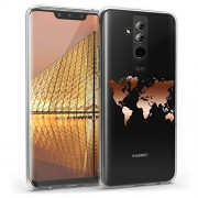kwmobile Funda para Huawei Mate 20 Lite Carcasa Protectora de TPU con diseño de Mapa del Mundo en Oro Rosa/Transparente