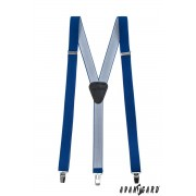 Úzké šle s koženým středem zapínáním na klipy, královská modř Avantgard 867-73523