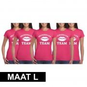 Shoppartners 5x Vrijgezellenfeest Team t-shirt roze dames Maat L