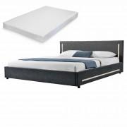 [my.bed] Elegantná manželská posteľ s LED osvetlením - matrac zo studenej HR peny - 180x200cm (Záhlavie: alcantara koženka sivá / Rám: textil čierna) - s roštom