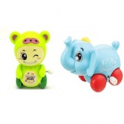 Emob Pack of 2 Cute Mini Elephant and Bear Shape Wind Up Toy (Multicolor)