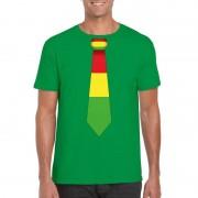 Bellatio Decorations Shirt met rood/geel/groene Limburg stropdas groen heren S - Feestshirts