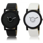 MR Fashion black and white Color Design Analougue Wrist Watch - For Boys And Mens-pack of 2