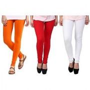 Stylobby Orange Red And Wite Kids Legging Pack Of 3