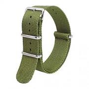 yotefe Correa de Reloj de Nailon de Repuesto para Hombre y Mujer, Correa de Reloj con Hebilla de Acero Inoxidable, Color a Elegir, Longitud (18 mm, 20 mm, 22 mm o 24 mm) Verde