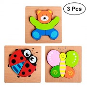 YeahiBaby 3Pcs Wooden Chunky Puzzles Shape Puzzle Geometric Sorter Toy Preschool Educational Toy