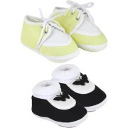 Neska Moda Pack Of 2 Baby Boys And Girls Black And Yellow Cotton Booties For 0 To 12 Months