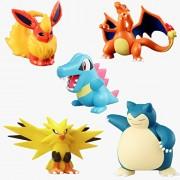 Set of 5 - Pokemon Pokeball Action Figures - Charizard Flareon Totodile Zapdos Snorlax Anime Action Figure PVC Toys