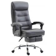 CLP Fauteuil de bureau Hades similicuir avec appui-pieds , gris CLP gris, hauteur de l'assise
