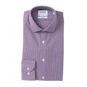 TM LEWIN Houndstooth Fitted Dress Shirt NAVY RED