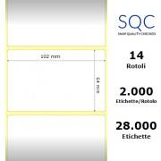 Etichette SQC - Carta normale (vellum) (bobina), formato 102 x 64