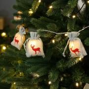 Karácsonyi elemes LED rénszarvas juta tasak füzér 2 m