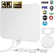 Fosmon HDTV Antenna [2018 Latest], Ultra Thin Indoor Digital TV Antenna 50-80 Miles Long Ranges, UHF/VHF/1080p 4K Free TV Channel, with Amplifier Signal Booster / 10FT Coaxial Cable (White)