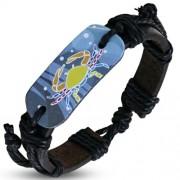 Horoszkópos bizsu bőr karkötő - Rák