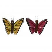 Merkloos 2x magneet hout gele en roze vlinder