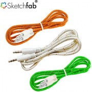 Sketchfab 3.5mm Aux Cable Nylon Braided Audio Cable for Car Stereos Smartphones iPod and More - Tricolor