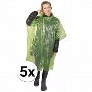Geen 5x wegwerp regenponcho groen