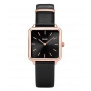 CLUSE Horloges La Tetragone Rose Gold Plated Black Zwart