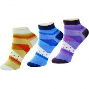 Nandini 3 Pair Women Casual Cotton Rich Striped Ankle Length Socks Multi Color