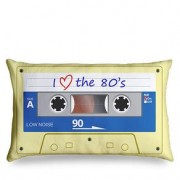 Almofada Fita Cassete K7 Retrô - I love the 80's