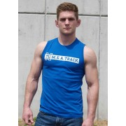 Ajaxx63 M.E.A. Track Athletic Fit Muscle Top T Shirt Royal Blue/White SL05