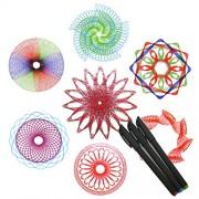Pjzm 10 Pcs Child Intelligence Development Magic Drawing Ruler. Children Creative Draw Spiral Design Interlocking Gears and Wheels, Classic Educational Toys Set (1)