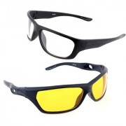 Day Night Night Driving Real Club Yellow Color Glasses Yellow Color Glasses Bike Car Driving Yellow Color Glasses Pack of 2 (AS SEEN ON TV)